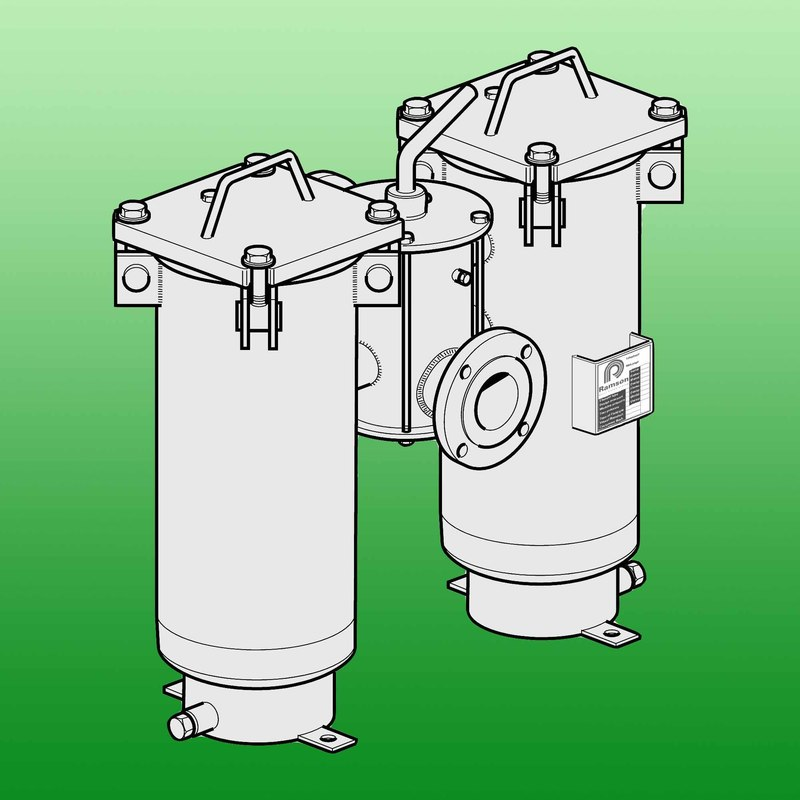 Dubbelfilter med bultförbandslock typ 12-02